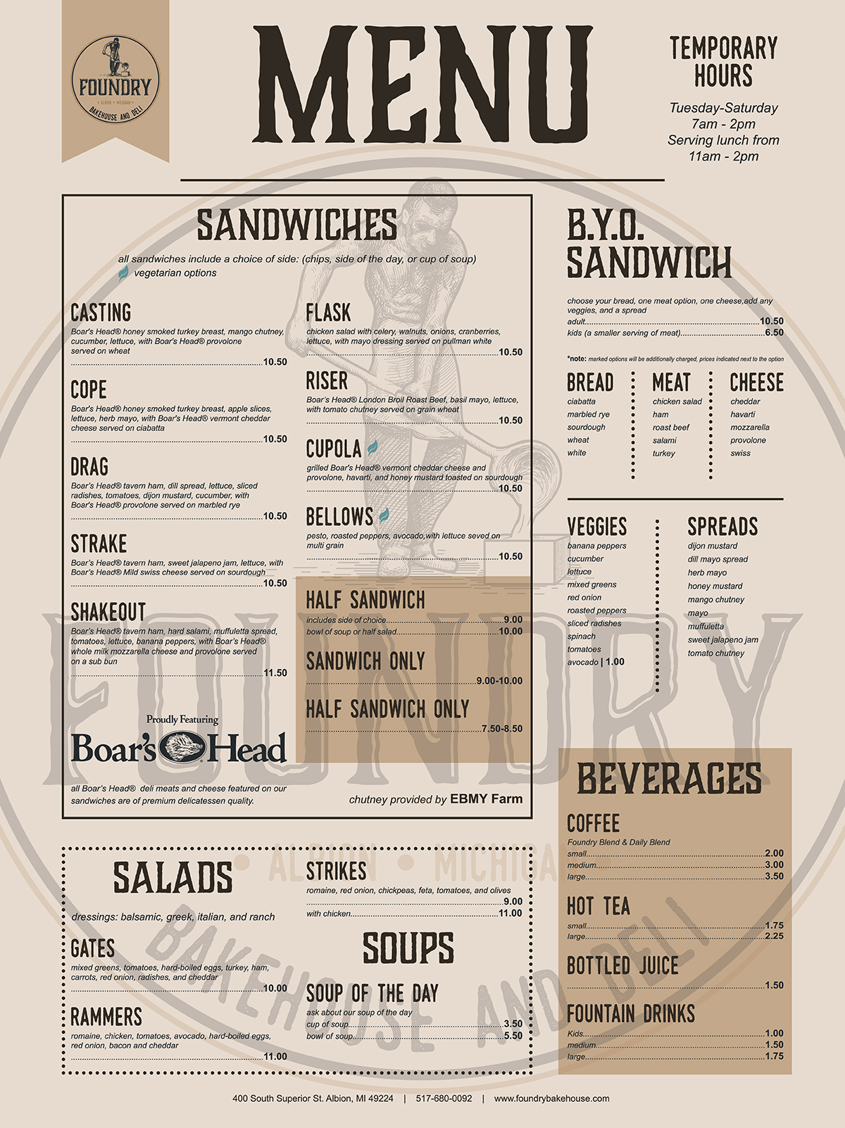 Foundry Bakehouse & Deli Menu